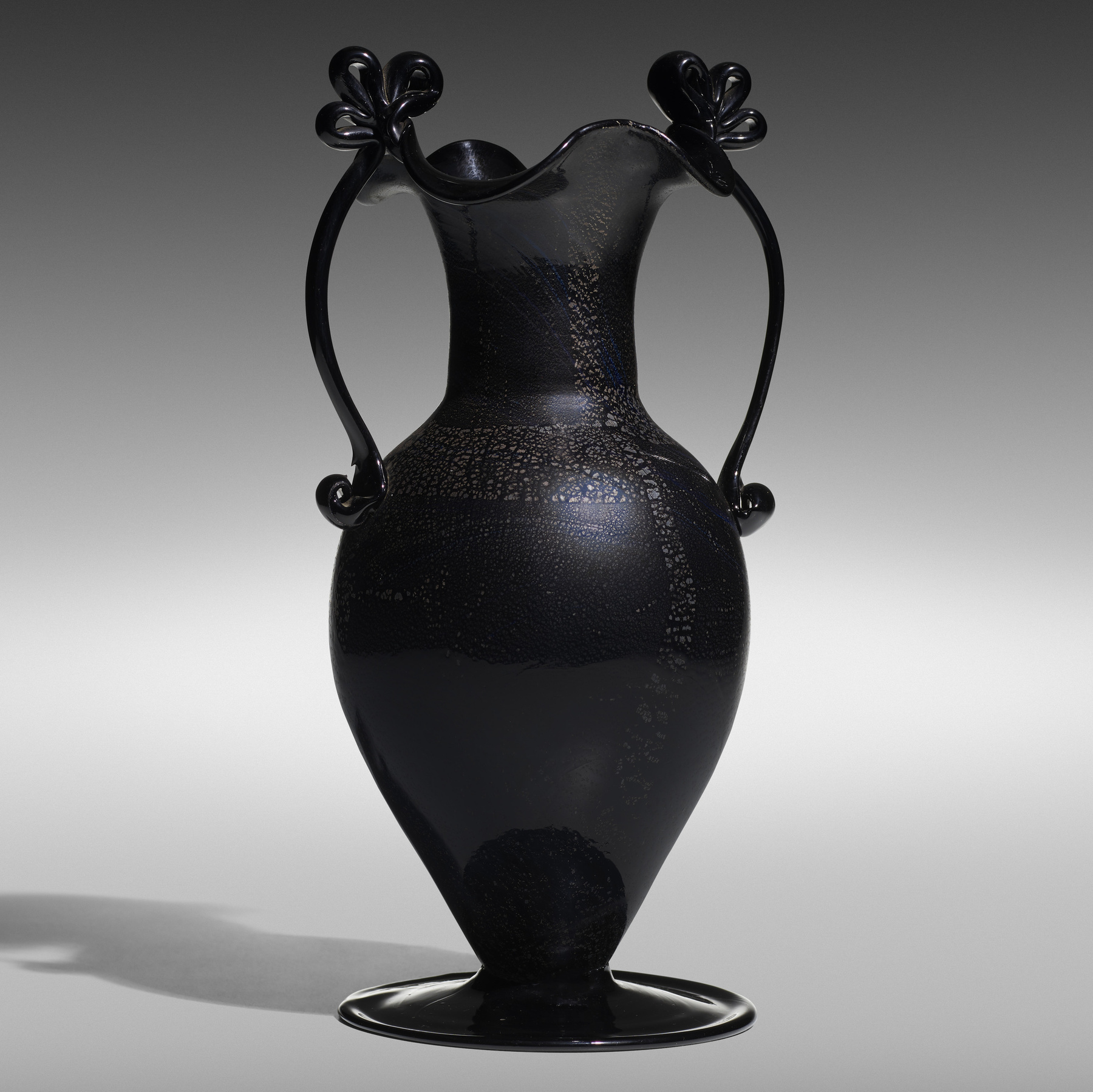 135 1 Important Italian Glass April 2020 Fratelli Toso Nero Argento Vase Wright Auction