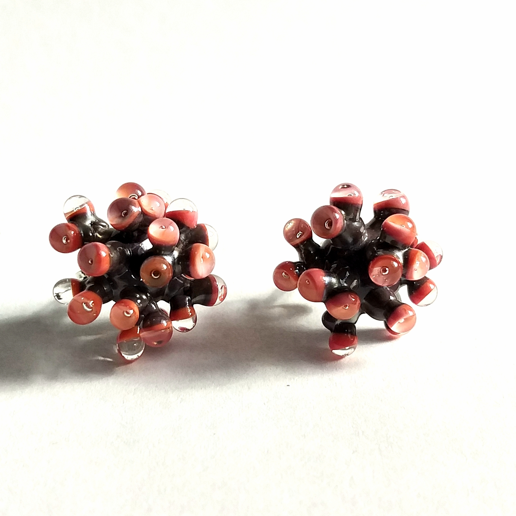 Grey and Peach Anemone Earrings by Cecilia Lopez-Bravo