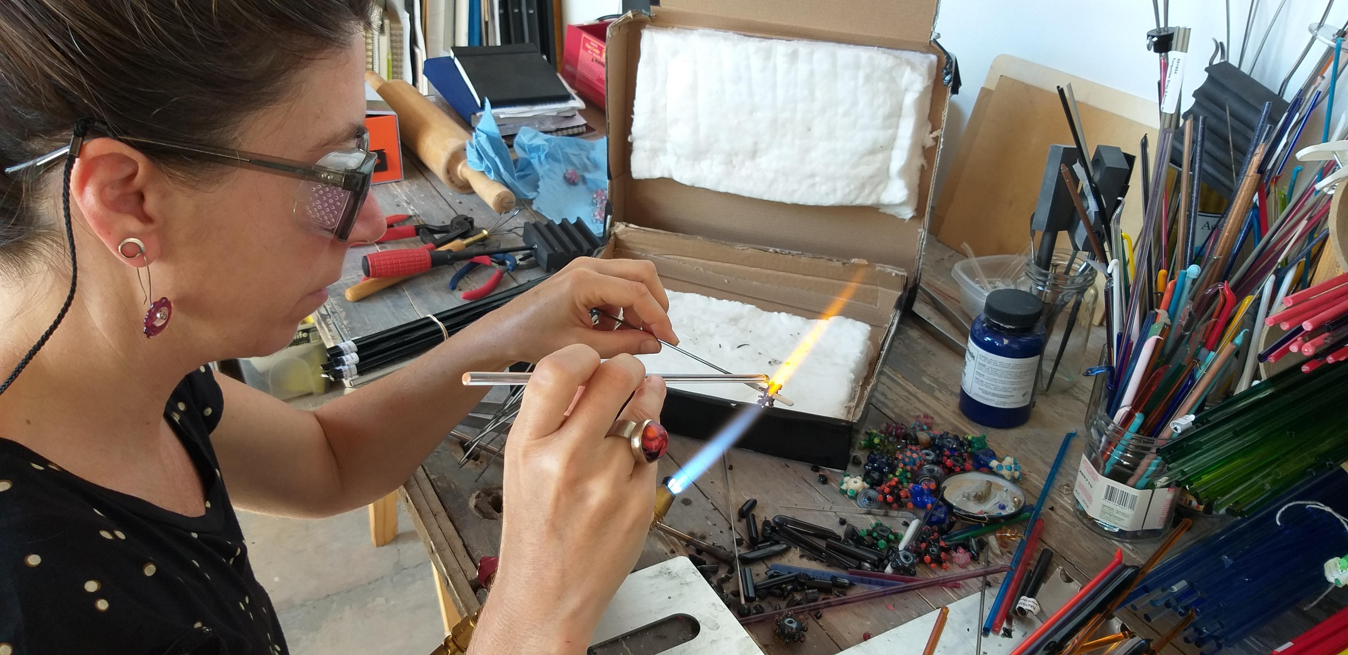 Cecilia Lopez-Bravo working in her studio (image courtesy of the artist)
