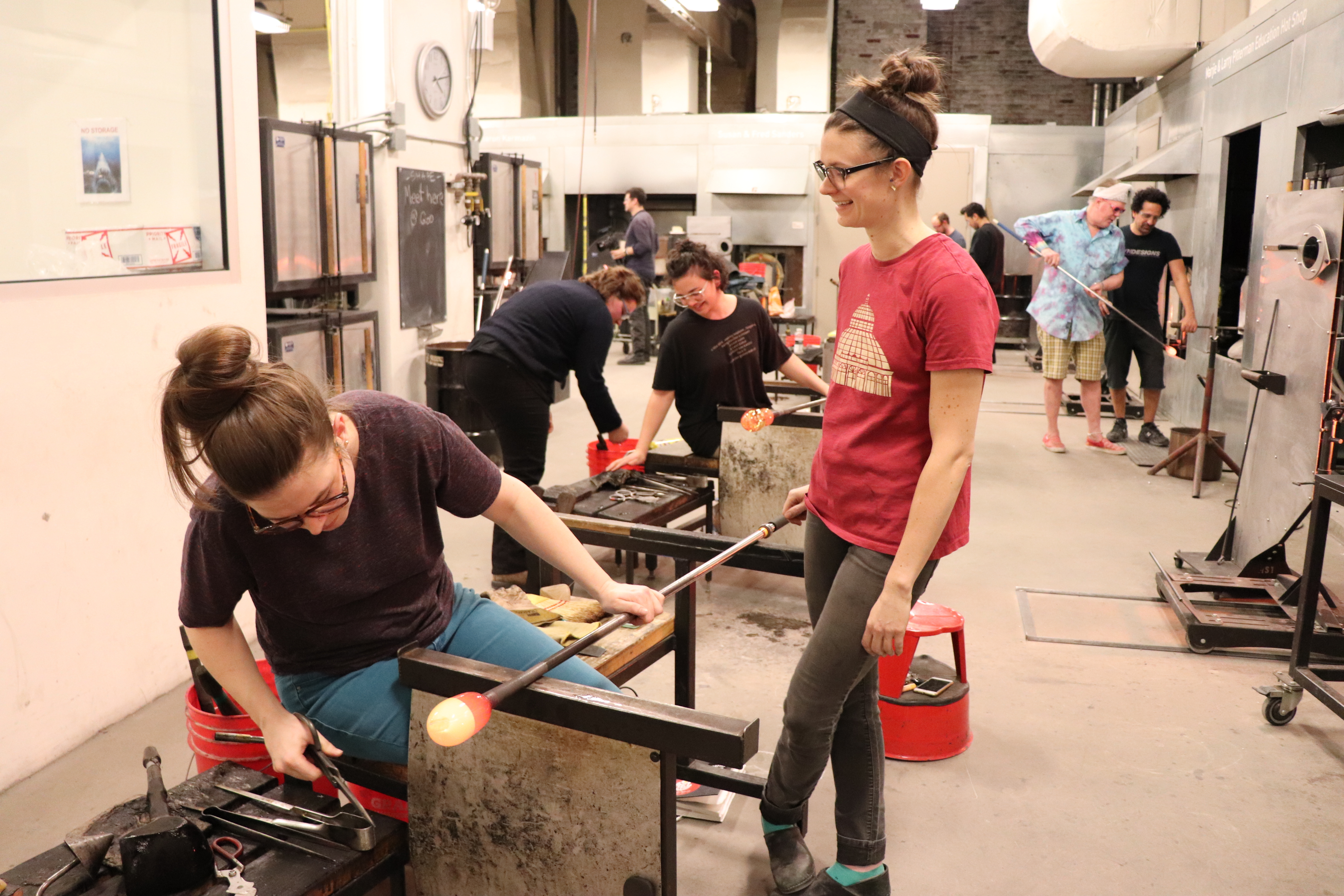 Annie assisting in the UrbanGlass hot shop