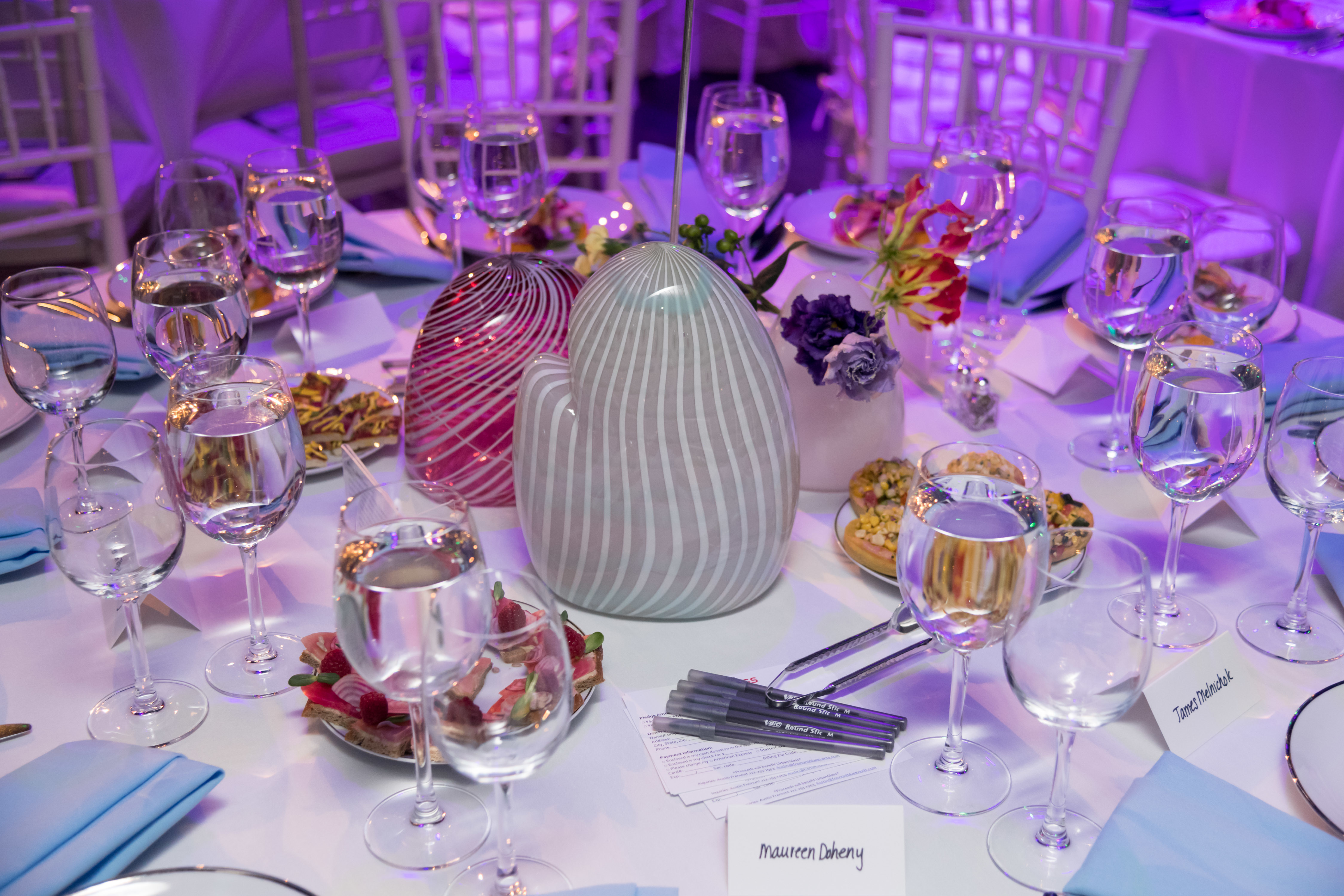 Centerpieces made by Annie Shepherd for the 2018 UrbanGlass Gala