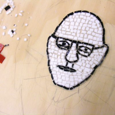 Bucky Fuller Detail Glass Mosaic In Process Siuc