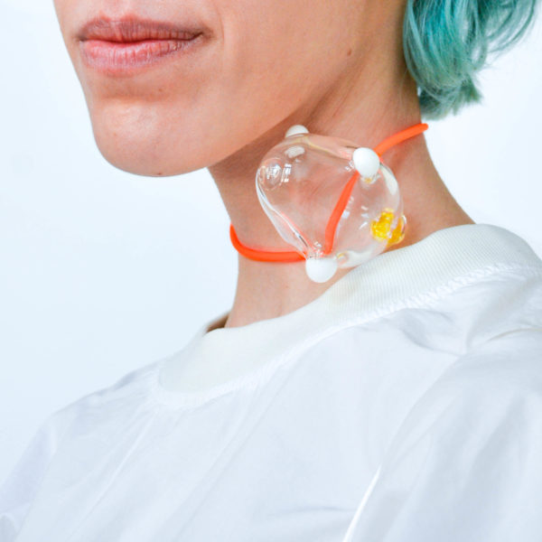 Transparent Borosilicate Glass Bubble With White And Yellow Details And Rubber Orange Cord