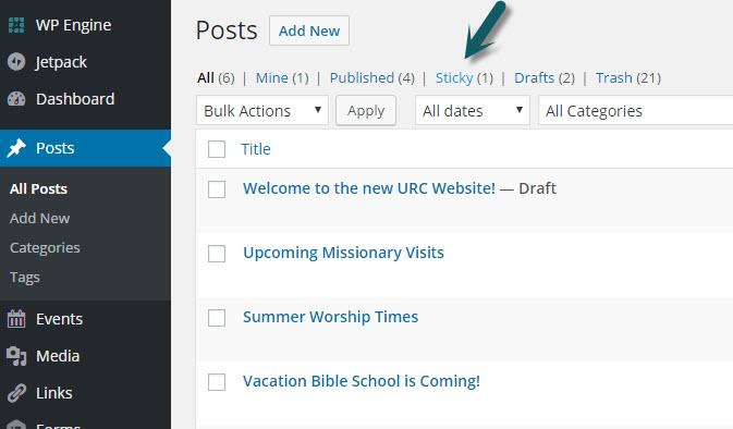 sticky posts on site