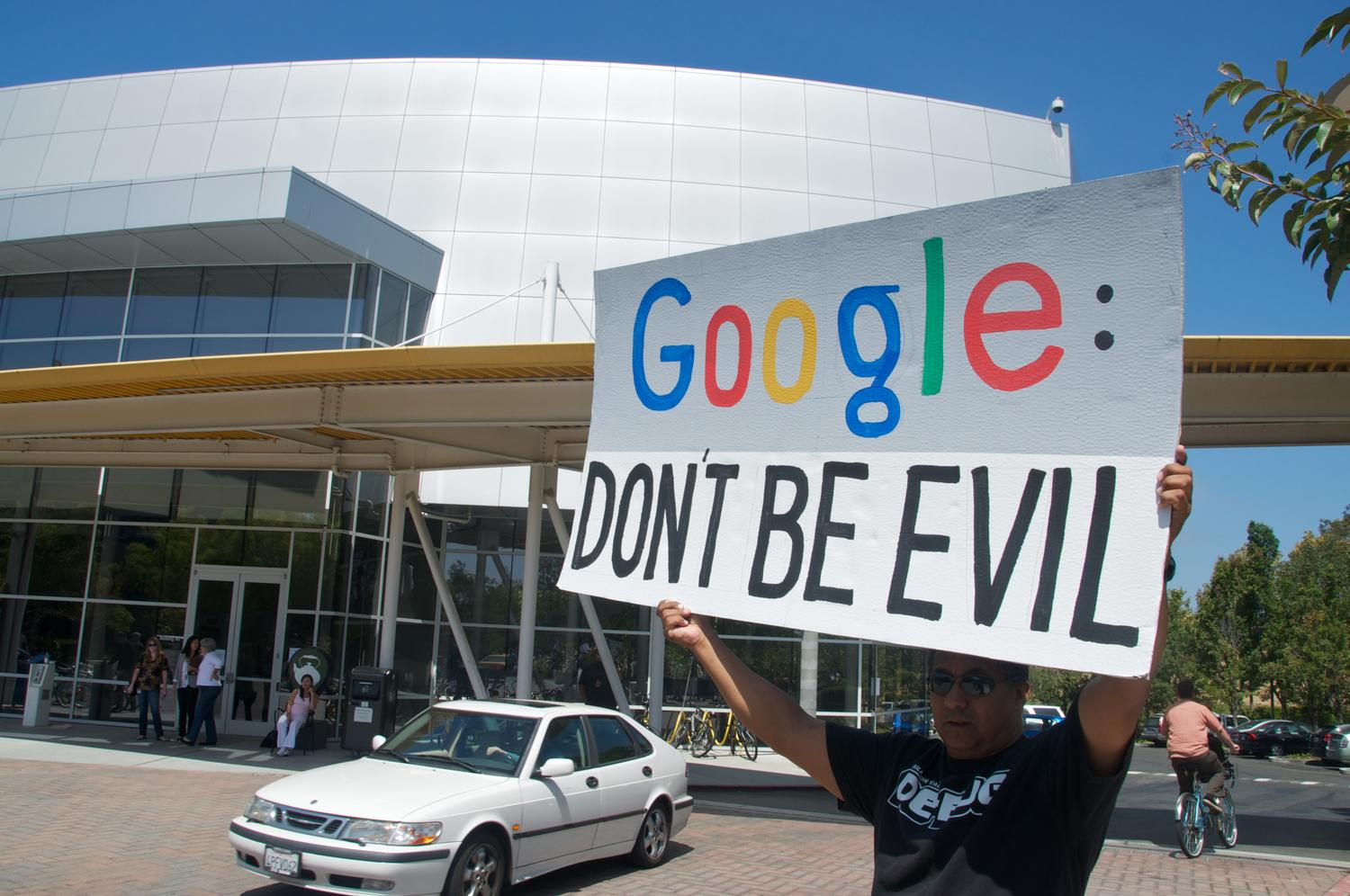 Conference disrupted by protester claiming Google 'builds robots that kill people'