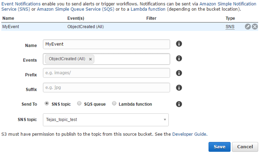 step 3 create an event notification on the s3 bucket