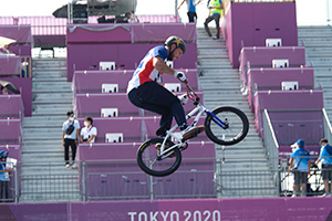 Nick Bruce during his run at the Tokyo Olympics. Photo: Casey Gibson