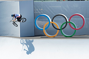 Perris Benegas transferring sections during the the Women's BMX Freestyle Finals. Photo: Casey Gibson