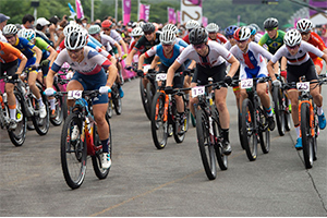 Haley Batten in the start loop during the Women's XC Event in Tokyo. Photo: Casey Gibson
