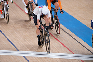 Valente in the final sprint of the Omnium, where she clinched her gold medal. Photo: Casey Gibson
