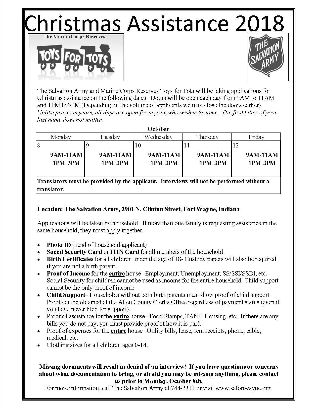 Christmas Assistance Intake - Fort Wayne Salvation Army