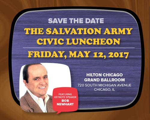 Save the Date. Friday, May 12, 2017, The Salvation Army's annual Civic Luncheon featuring Bob Newhart