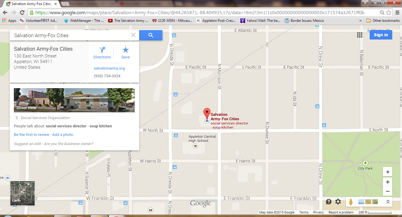 google map the salvation army shield