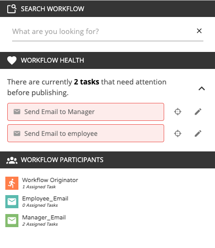 view of Workflow Health Monitor