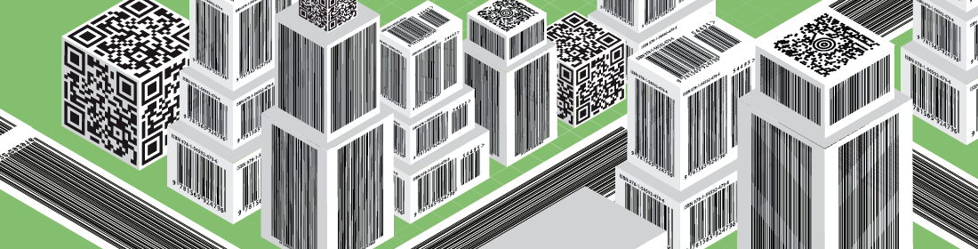 illustration of buildings made of barcodes