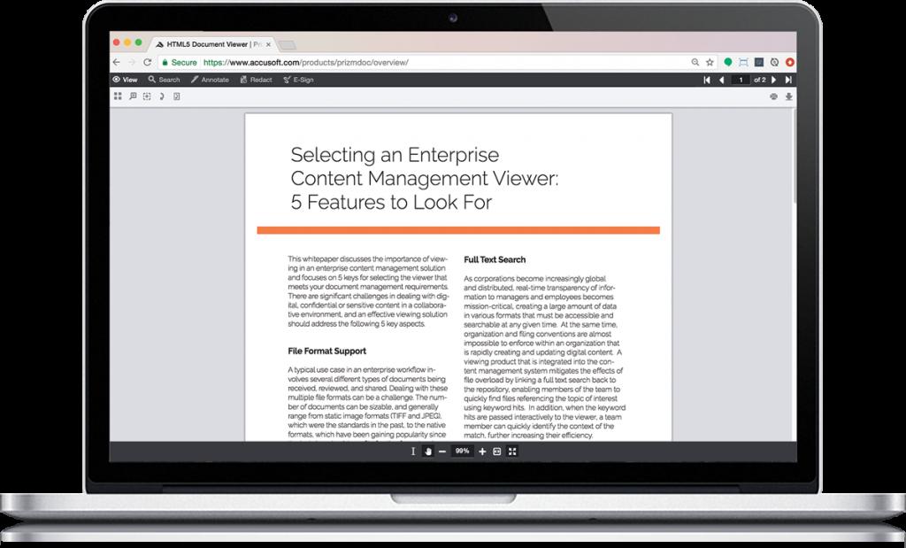 HTML5 Document Viewer | PrizmDoc | Accusoft