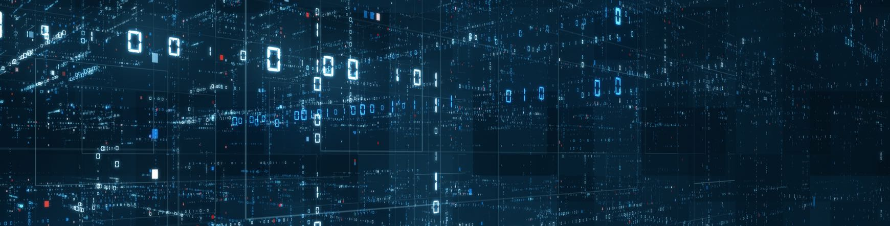 Digital binary code matrix background - 3D rendering of a scientific technology data binary code network conveying connectivity, complexity and data flood of modern digital age.