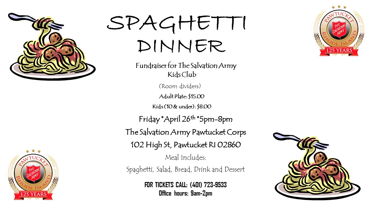 Salvation Army Pawtucket Spaghetti Dinner