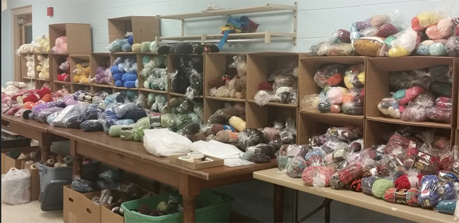 boxes and shelves of 