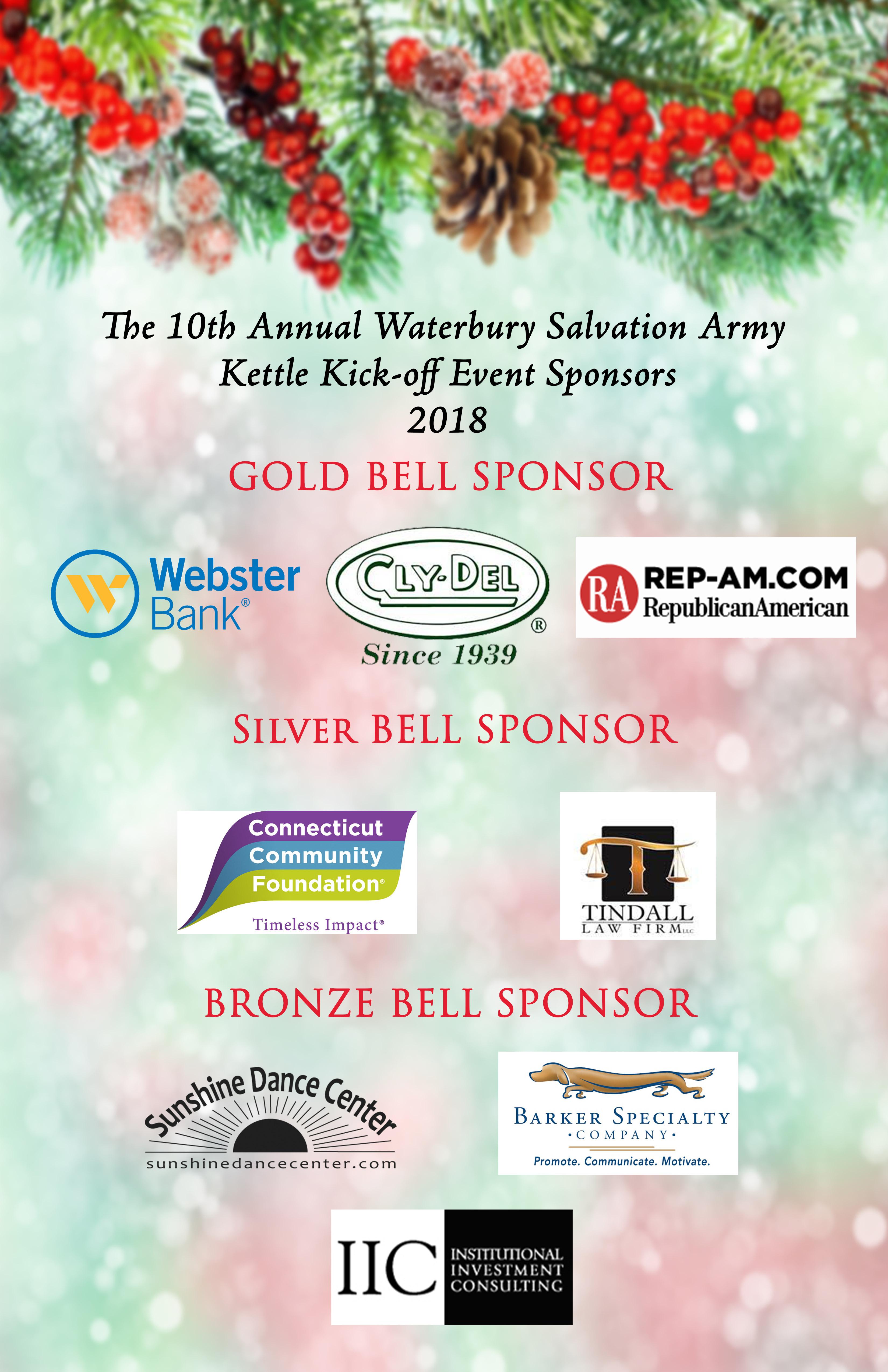 Salvation Army Waterbury Kettle Kickoff 2018 sponsors