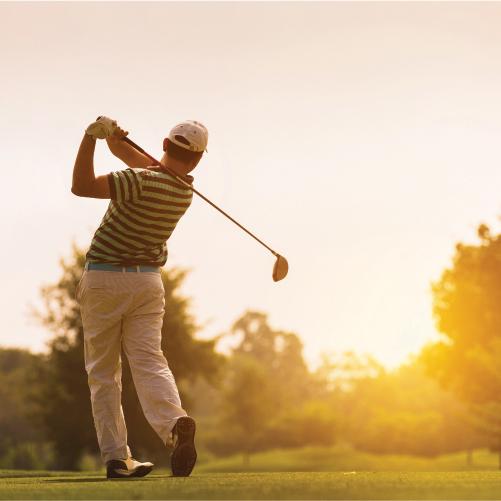 Man golfing in sunrise, Chip in for kids golf scramble, ashland ohio, salvation army kroc center