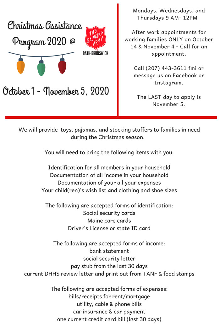 Bath, Maine   2020 Christmas Assistance Program