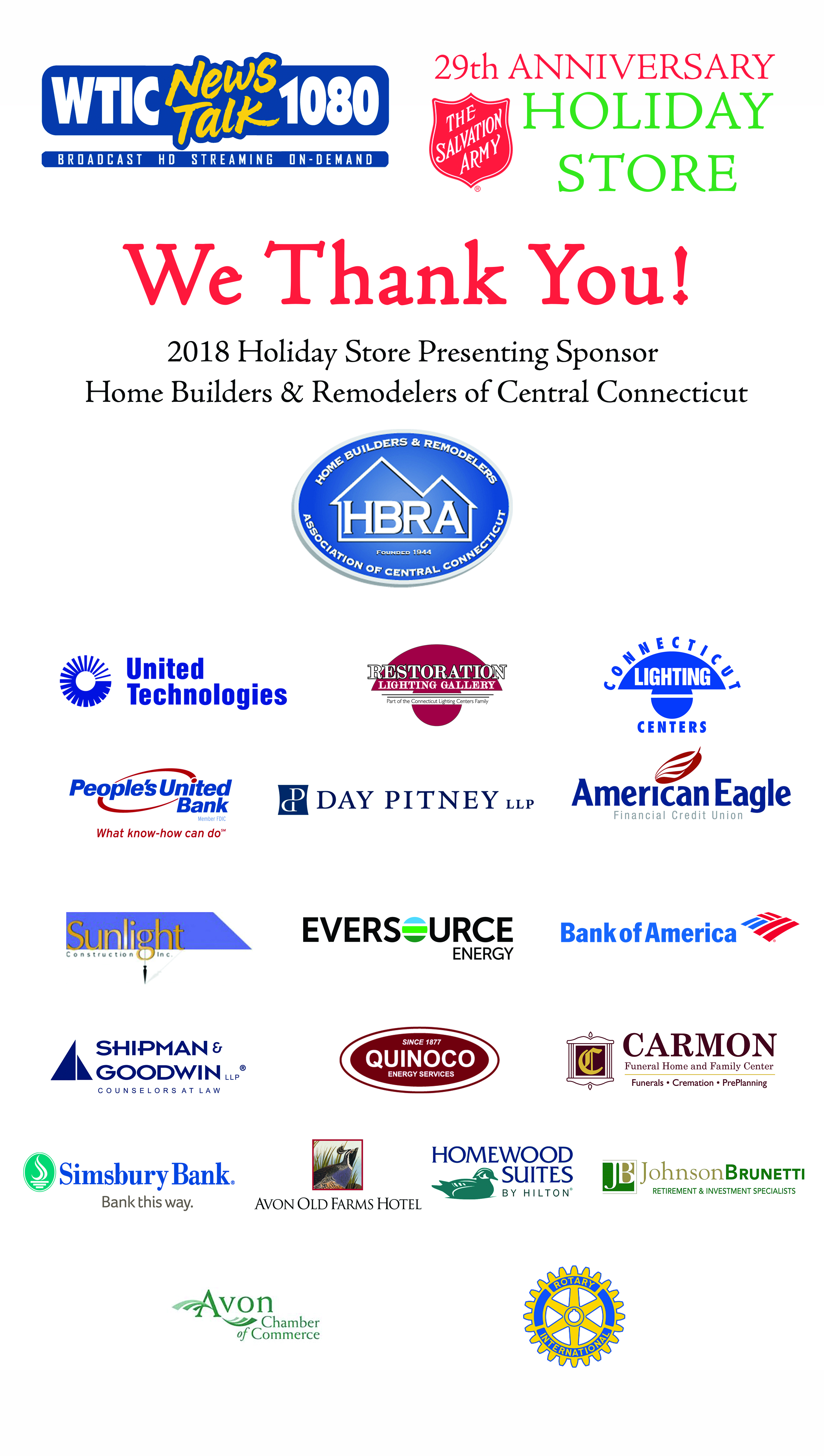 2018 WTIC Holiday Store Sponsors