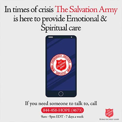 Salvation Army provides Emotional & Spiritual Care Hotline