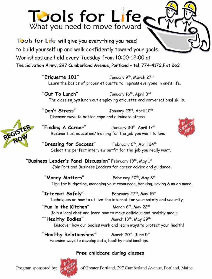 Winter and Spring Tools For Life Schedule