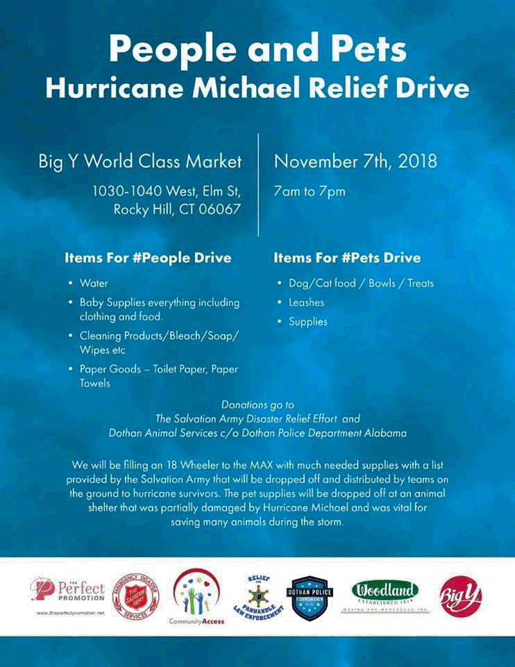 Hurricane Michael relief.  Donate items and supplies