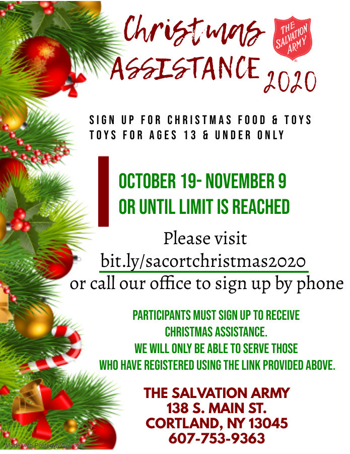 The Salvation Army of Cortland NY Christmas Assistance