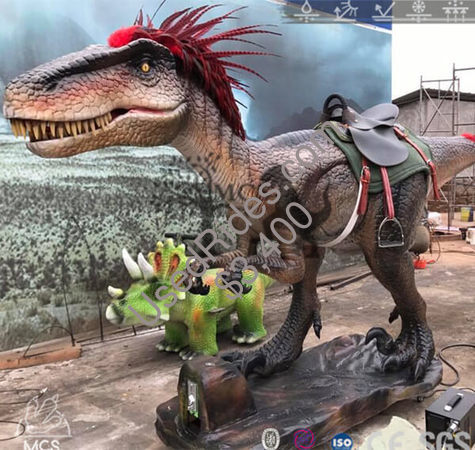 Raptor with red feathered dinosaur ride rd028 %281%29