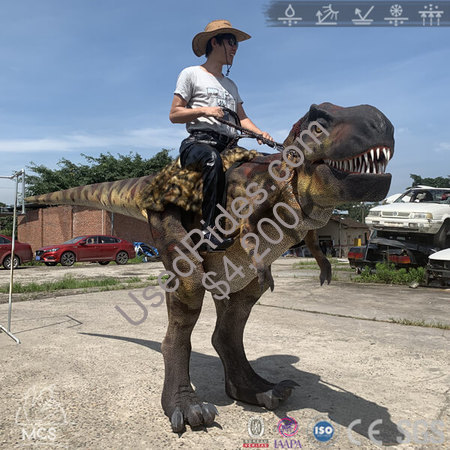 Wrangler t rex ride on stilts costume experience jurassic dinosaur riding %282%29