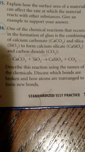 Chemical reactions: Describe what bonds are broken and