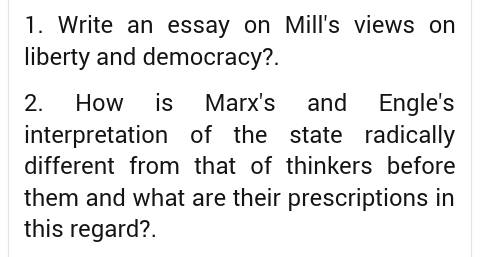 Write An Essay On Mills Views On Liberty And Democracy  Enotes Write An Essay On Mills Views On Liberty And Democracy