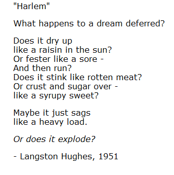 langston hughes the harlem dream essay A dream deferred by langston hughes essay homework for you  who wrote a dream deferred know it all harlem harlem by langston hughes dream.