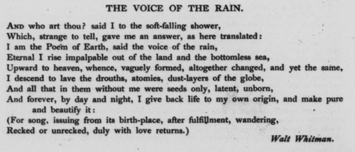 justify the title of the poem quotthe rainquot by walt whitman