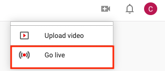 Go Live option on YouTube