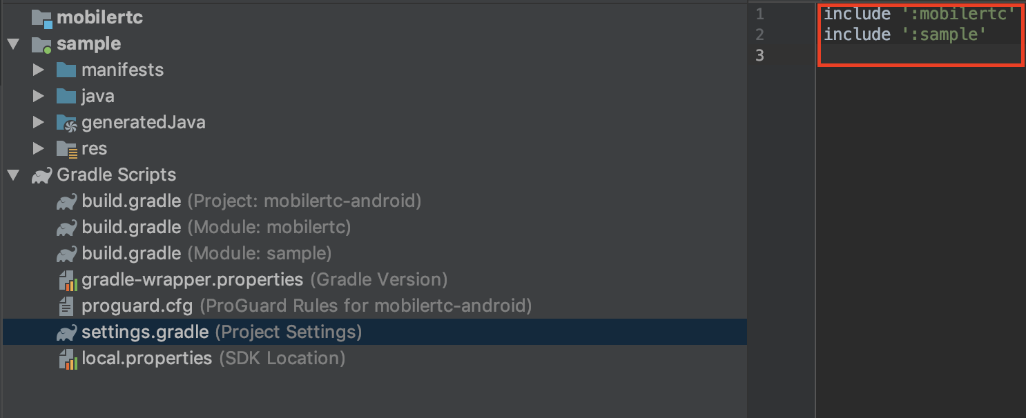 Include mobilertc into project