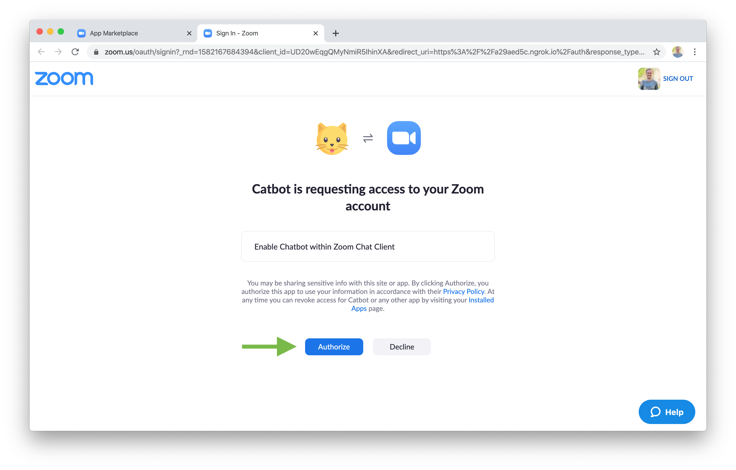 Zoom Chatbot Authorize
