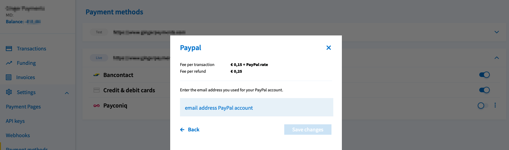 Change email address PayPal