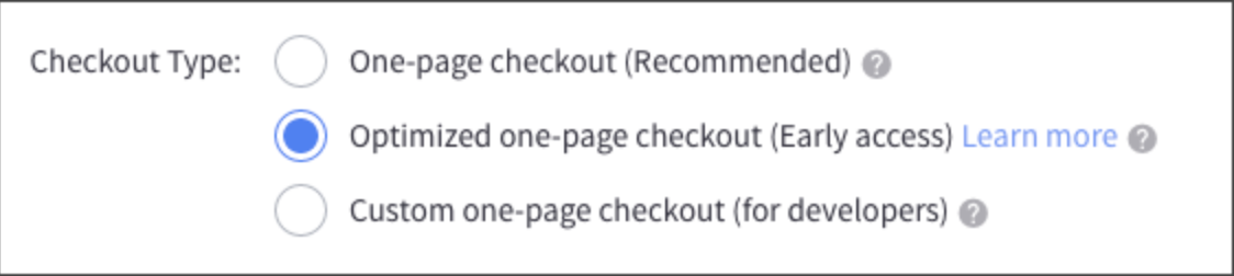 Choosing Optimized One Page Checkout in the Control Panel