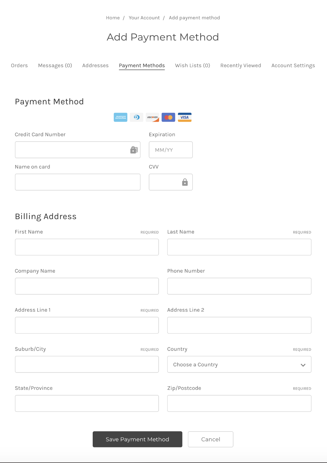 #### Example of the addition of the Add Payment Method