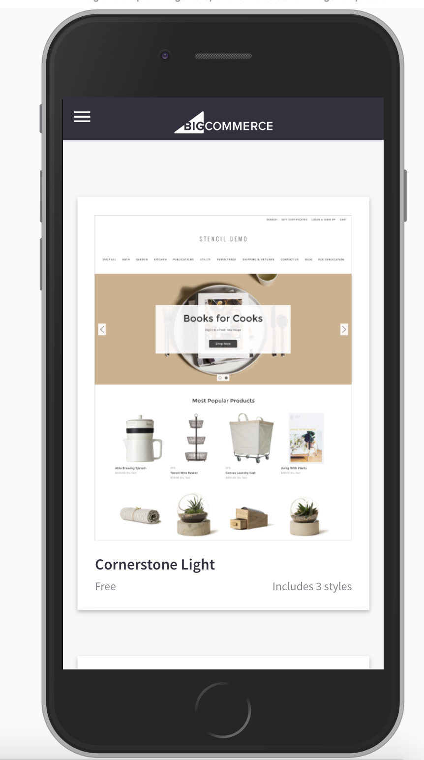 Mobile View of Themes Marketplace