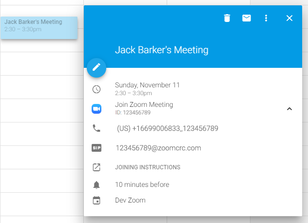 Zoom for Google Calendar - App Marketplace