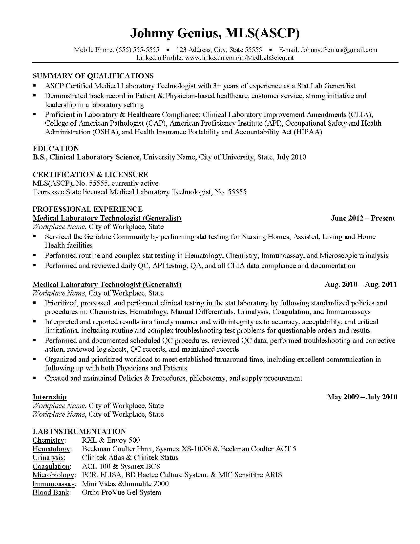 Delightful Self Assessment Intended Clinical Laboratory Scientist Resume