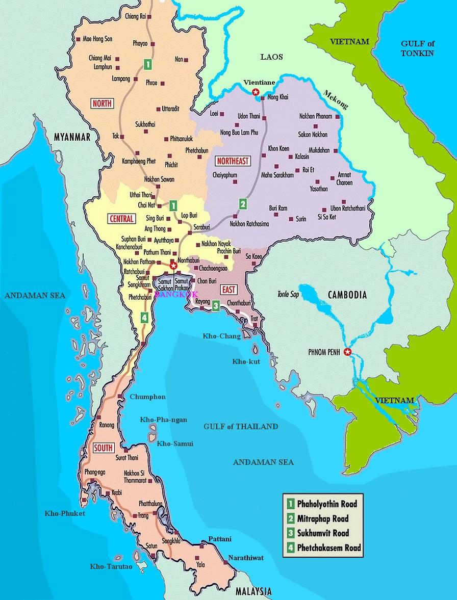 Thailand Beaches Map Tidal Treasures - Map of thailand