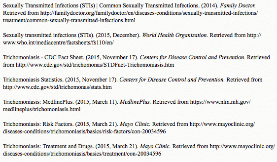 Sexually transmitted infections trichomoniasis
