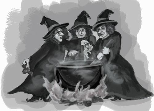 Прикольные картинки с тремя ведьмами, открытка день