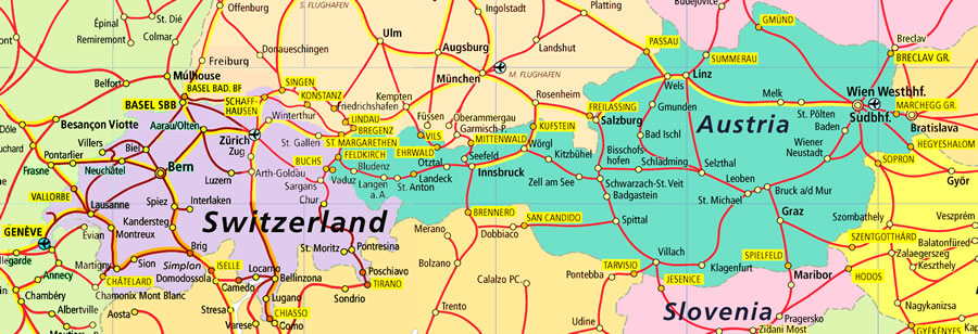 Map Of Germany And Switzerland.Switzerland And Austria Close Together On A Map But Very Far In